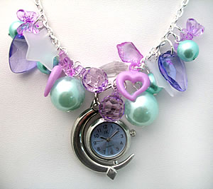 Preview of Night Time Blue and Purple Moon Clock Necklace.