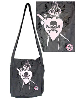 Preview of Decandent Skull Canvas Sling Bag.